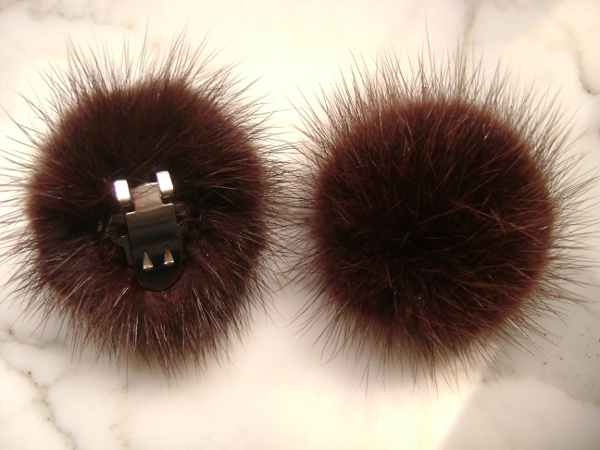 "2 clips with mink pompom for shoes, caps, scarfs "" marsalabrown"